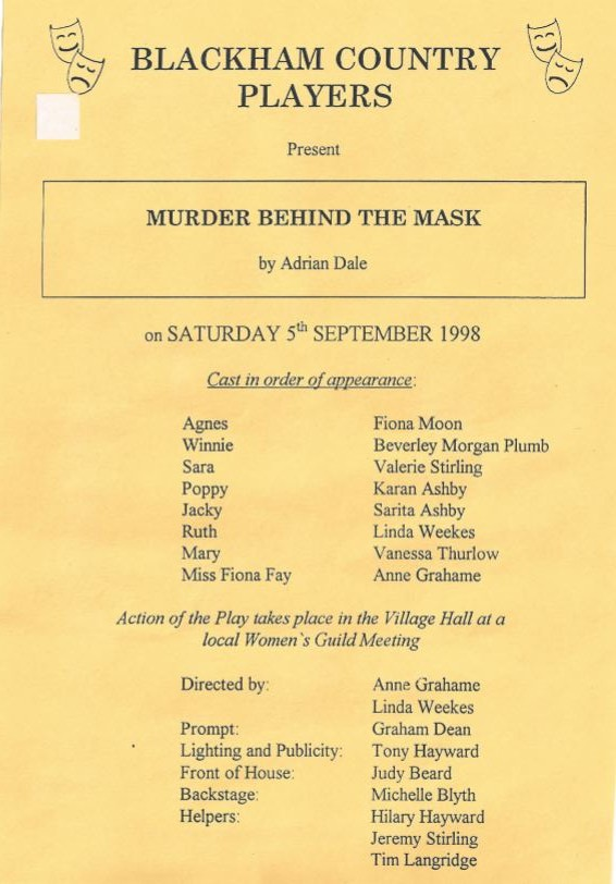 Murder Behind the Mask programme 2